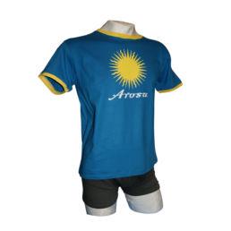 Arosa Retro T-Shirt in Blau Gelb von Souvenir Shop Arosa - Aroser Souvenirs, Andenken und Geschenke