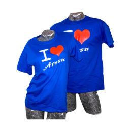 Arosa T-Shirt I Love Arosa in Blau von Souvenir Shop Arosa - Aroser Souvenirs, Andenken und Geschenke