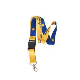 Arosa Tourismus Schlüsselanhänger Laynard Arosa Schriftzug Gelb Blau